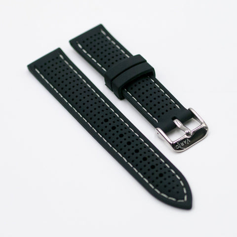 b95d0dc1eae vario perforated silicone watch strap with light grey stitching