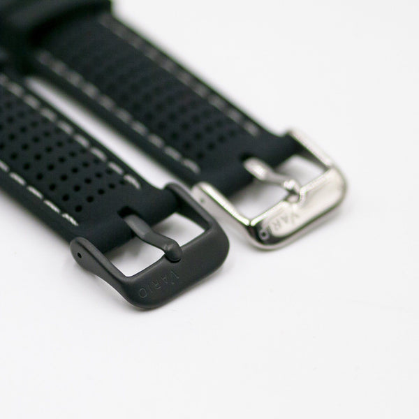 vario perforated silicone watch strap with light grey stitching