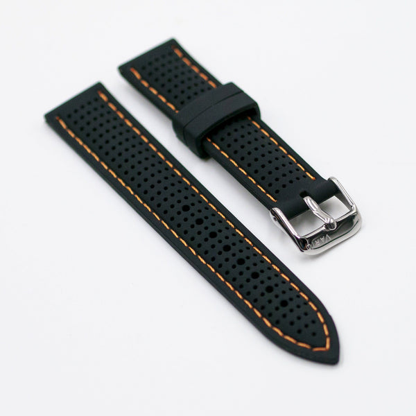 vario perforated silicone watch strap with orange stitching
