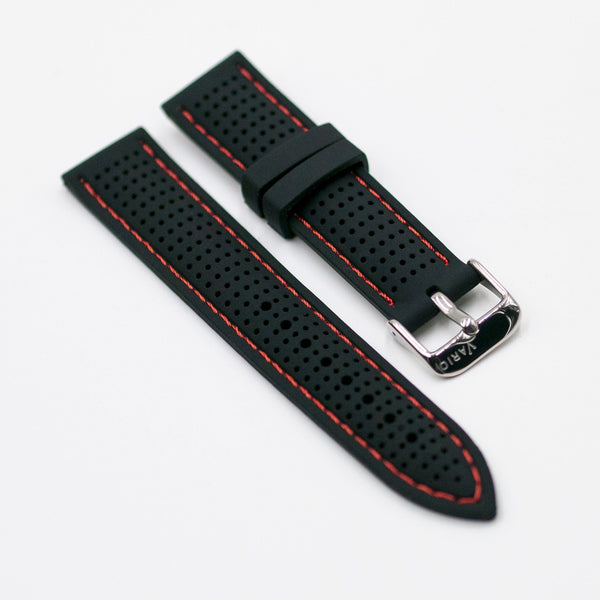 vario perforated silicone watch strap with red stitching