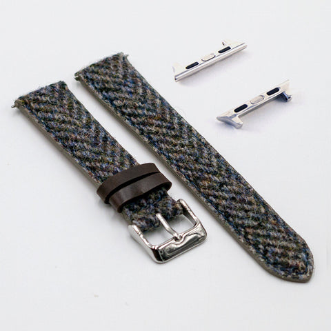 Harris Tweed Herringbone Berry Muesli Watch Strap for Apple Watch