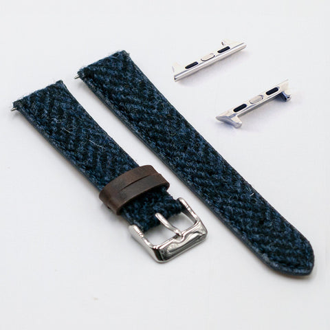Harris Tweed Herringbone Ocean Ripple Watch Strap for Apple Watch