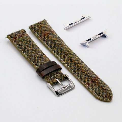Harris Tweed Herringbone Pistachio Watch Strap for Apple Watch