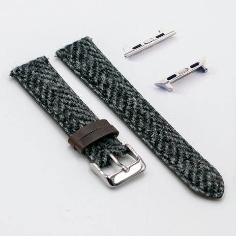 Harris Tweed Herringbone Rolling Smoke Watch Strap for Apple Watch