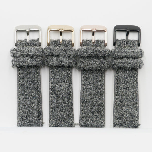 vario harris tweed straps in silver, gold, rose gold, black buckles