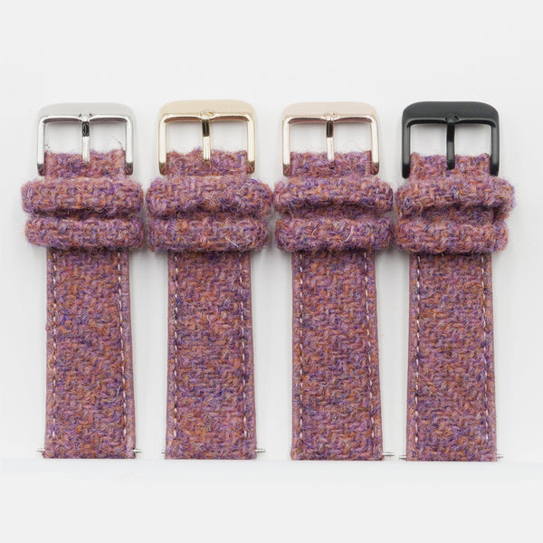 Harris Tweed bubble gum pink Watch Strap for 38mm 42mm Apple Watch silver gold rose black buckle