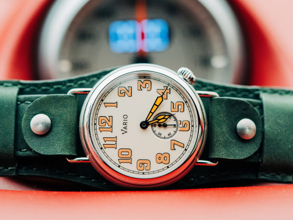 vario 1918 grabenfelduhr creme zifferblatt orange lume 37mm ww1
