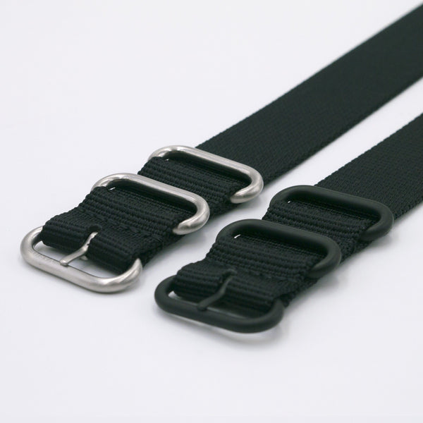 ballistic nylon black maratac nato watch strap silver and black buckle
