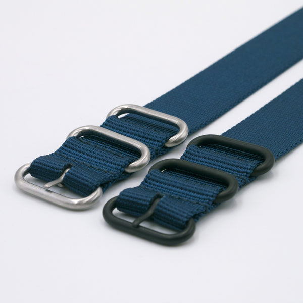 dark blue ballistic nylon maratac nato strap with silver and black buckle