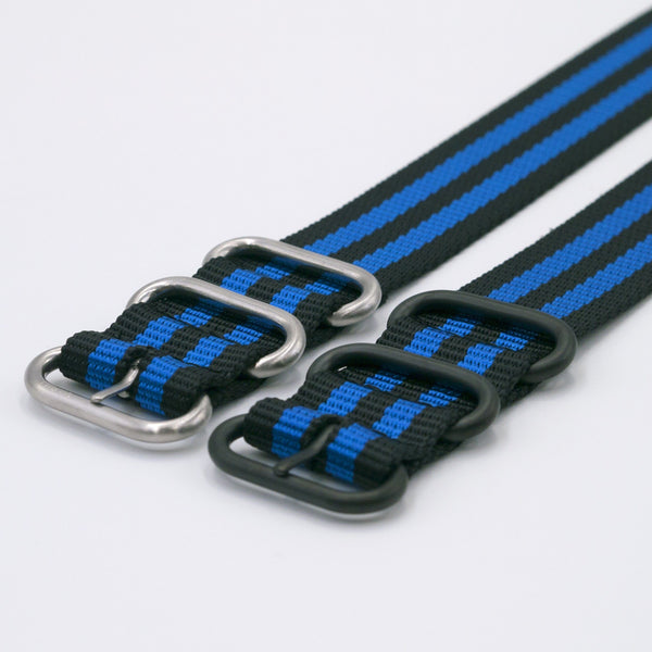 vario blue stripe ballistic nylon nato zulu single pass watch strap in silver and black buckle