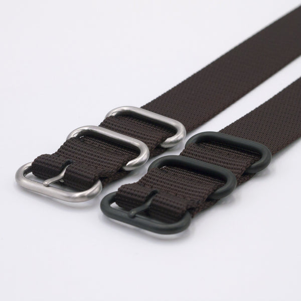 vario brown ballistic nylon nato zulu watch strap silver and black buckle