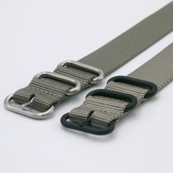 ballistic nylon grey nato watch strap silver and black buckle
