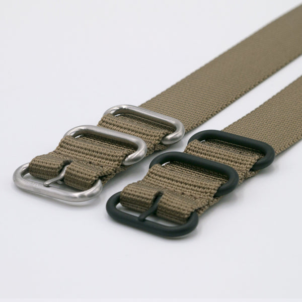 bronze maratac nato strap with silver and black buckle