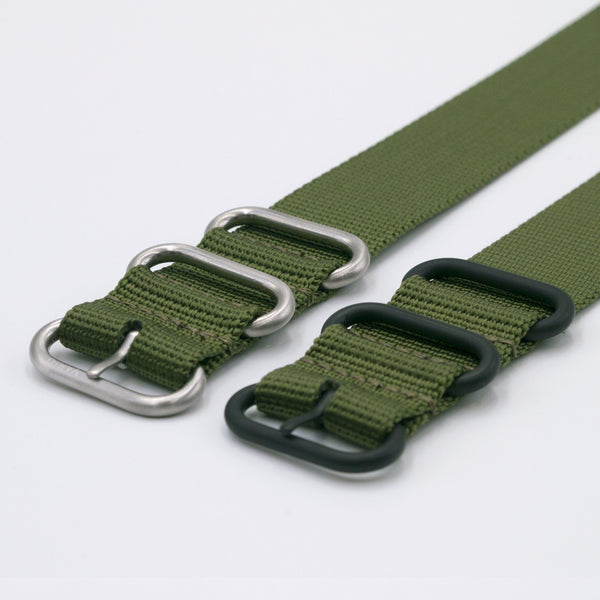 ballistic nylon green maratac nato strap silver and black buckle