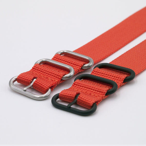 ballistic nylon orange maratac nato watch strap silver and black buckle