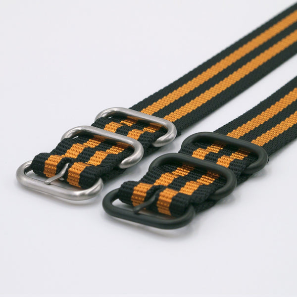 vario ballistic nylon orange stripe maratac nato single pass watch strap silver and black buckle