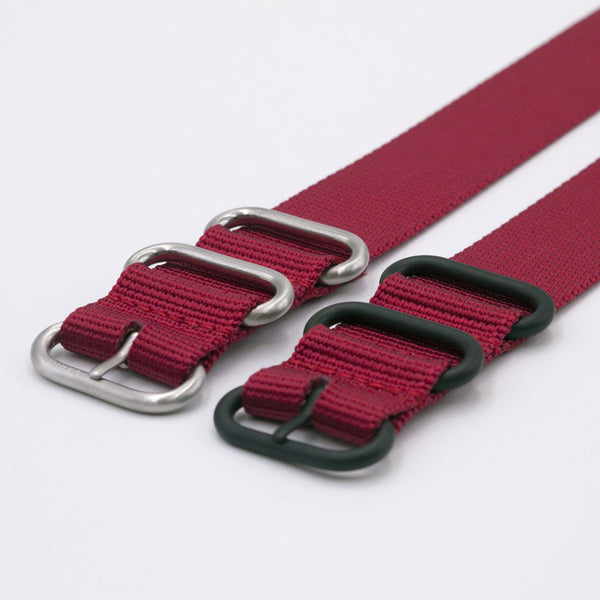 vario ballistic nylon red ruby maratac nato strap silver and black buckle
