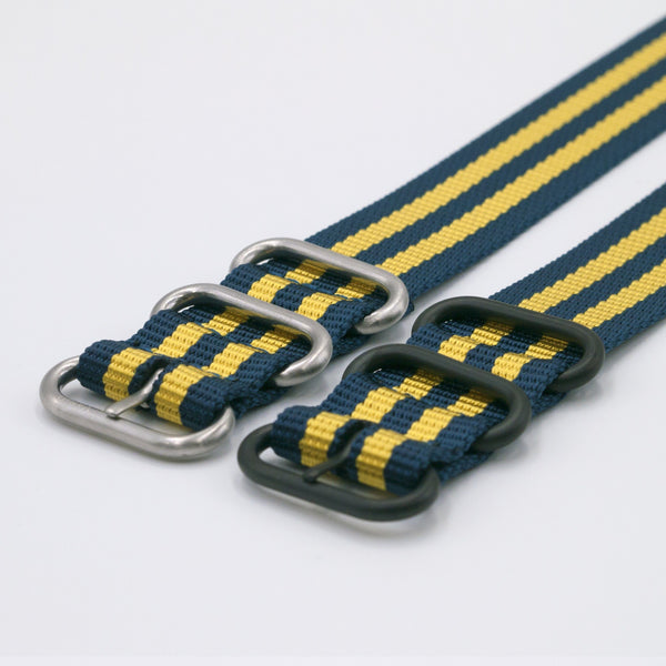 vario ballistic nylon yellow and blue maratac nato watch strap silver black buckle