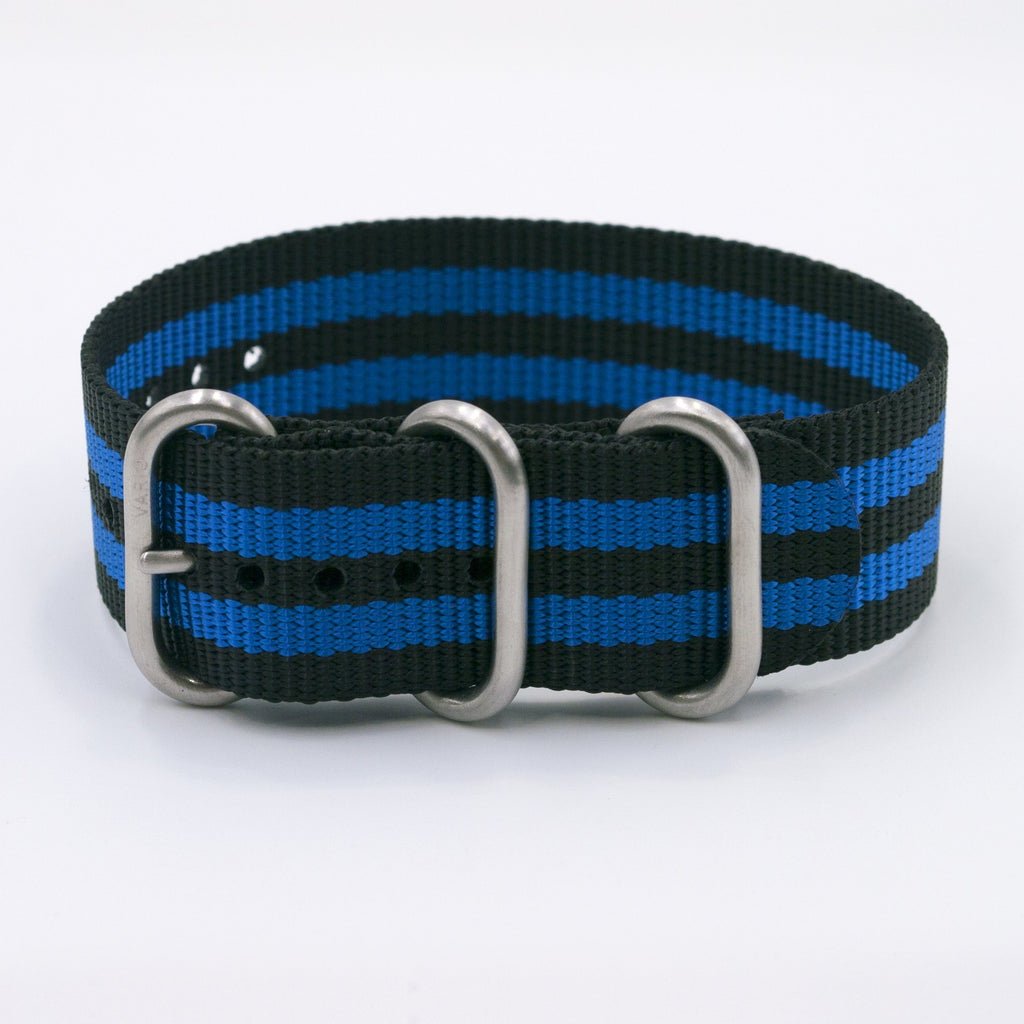 vario blue stripe ballistic nylon nato zulu watch strap