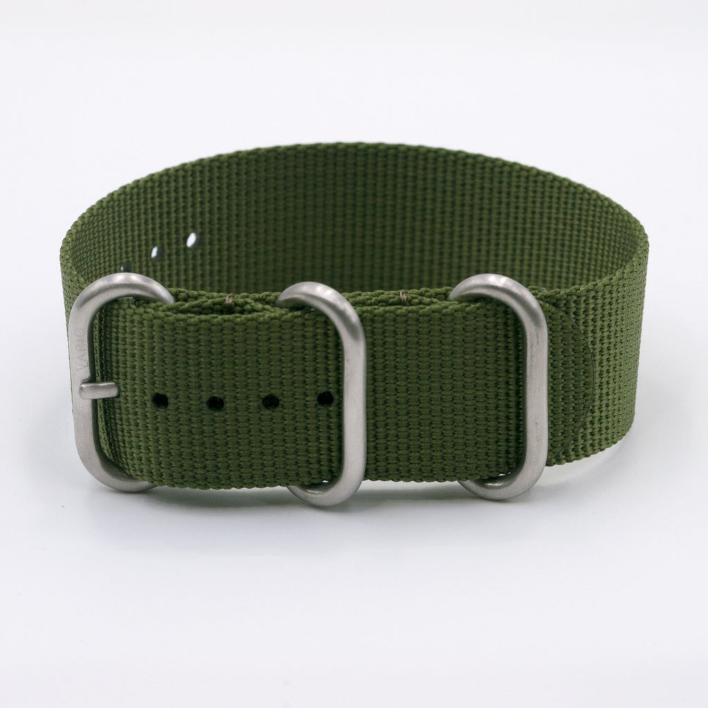 vario ballistic nylon olive zulu watch strap vegan friendly green