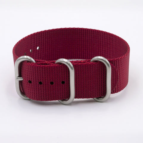 vario ballistic nylon red ruby zulu nato watch strap vegan friendly