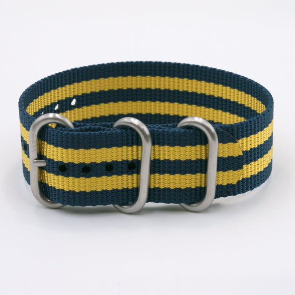 vario ballistic nylon yellow and blue maratac nato watch strap