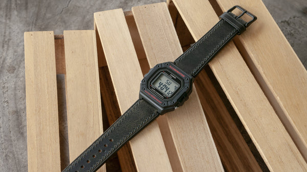 Casio W-218H leather watch strap