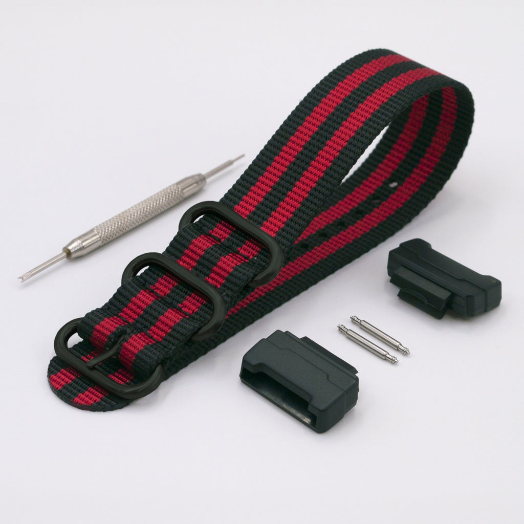 vario ballistic nylon red black stripe maratac nato strap with casio g shock adapter