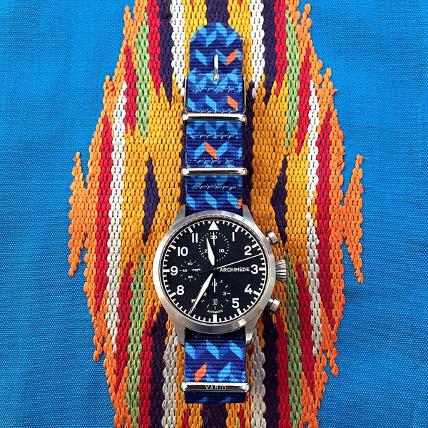 archimede watch with ocean chevron nato strap