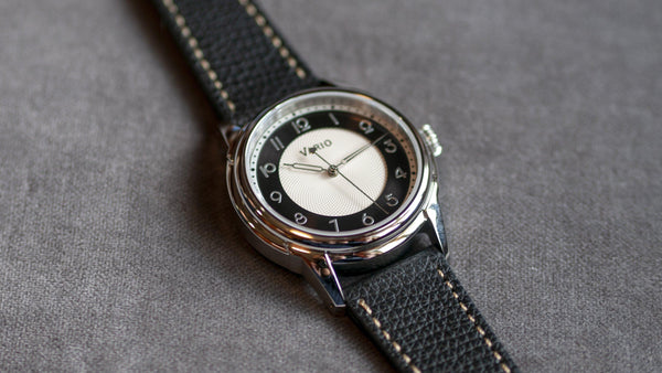 vario white tuxedo dress watch