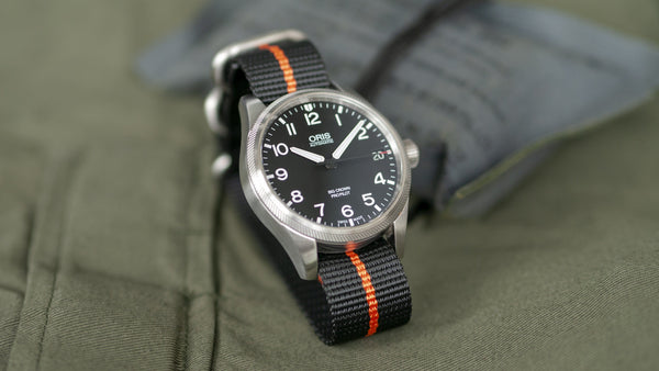 oris watch with vario ballistic nylon orange black stripe single pass watch strap