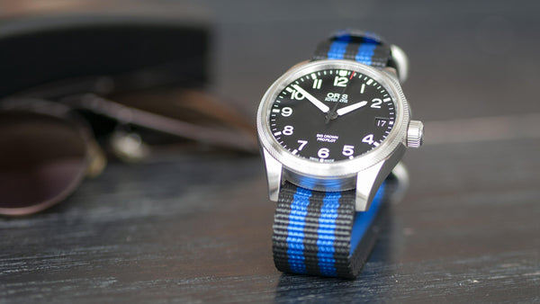 oris watch with vario ballistic nylon blue black stripe single pass watch strap