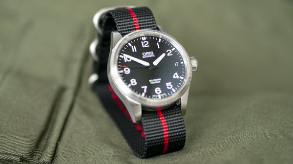 oris watch with vario ballistic nylon red black stripe single pass watch strap