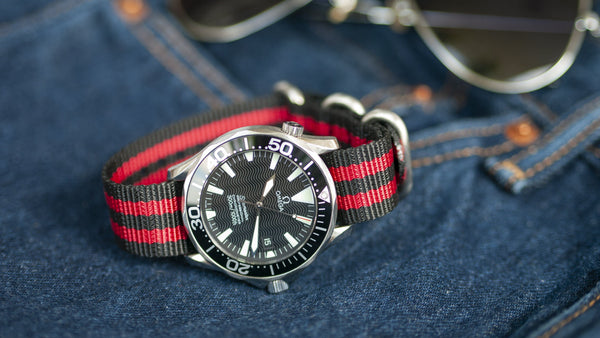 omega seamaster watch with vario ballistic nylon watch strap