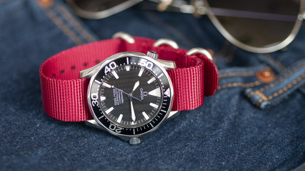 omega seamaster watch with vario ballistic nylon red watch strap