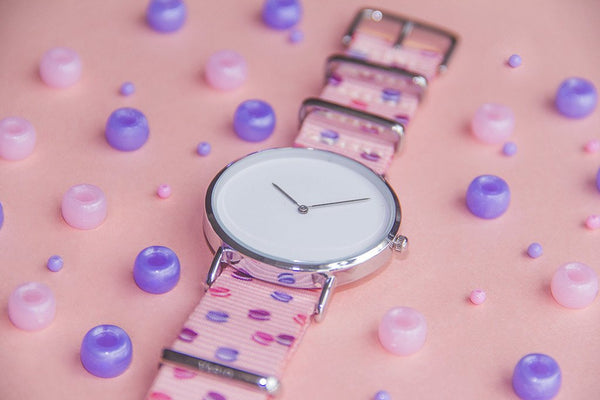 vario macaron dots nato strap with minimalist watch and beads