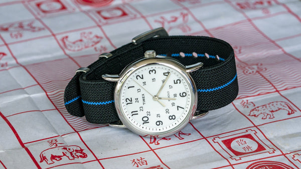 vario elastic nylon nato strap black and blue timex watch
