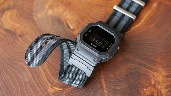vario elastic nylon nato strap black on casio gshock watch