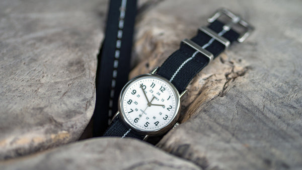 vario elastic nylon nato strap black and white timex weekender