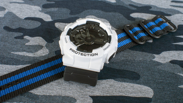 ga110 with vario ballistic nylon blue black stripe nato zulu watch strap
