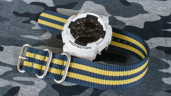 ga110 with vario ballistic nylon blue yellow stripe nato zulu watch strap