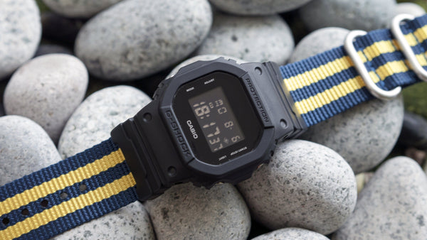 g shock dw5600 with vario ballistic nylon single pass watch strap