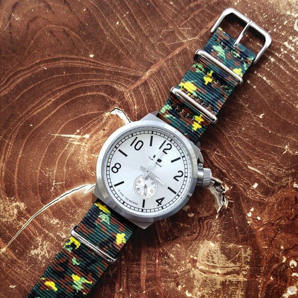 vario camo green nato strap with vestal canteen watch
