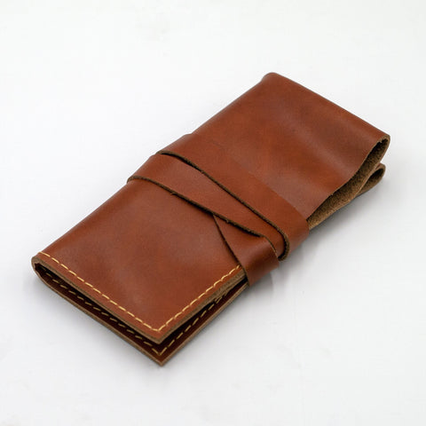 vario caramel brown leather 2 pocket watch roll