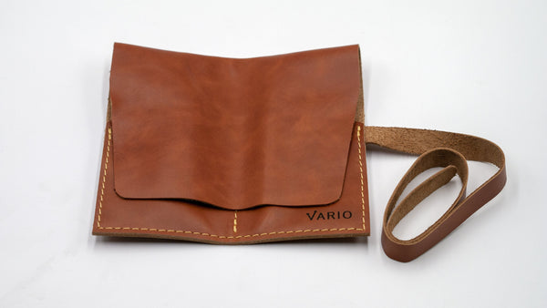 vario caramel brown leather 2 pocket watch roll half closed