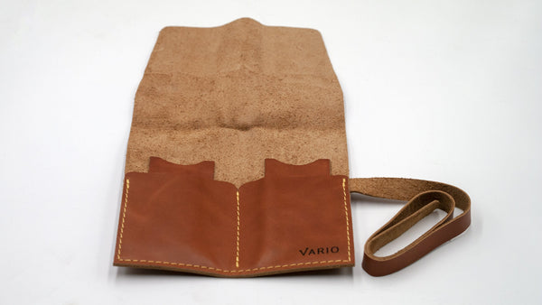 vario caramel brown leather 2 pocket watch roll fully opened
