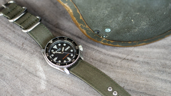 vario cordura single pass zulu watch strap vintage army green seiko skx