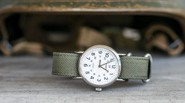 vario cordura single pass zulu watch strap vintage army green timex
