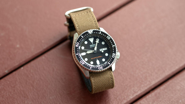 vario cordura single pass zulu watch strap seiko skx khaki brown