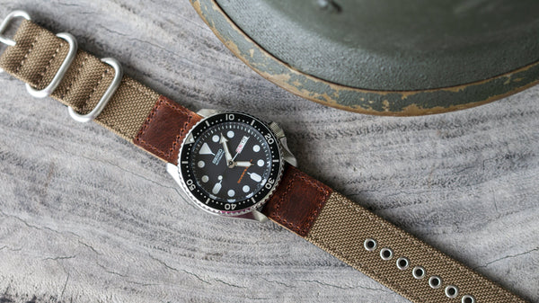 vario cordura oiled leather khaki brown seiko skx